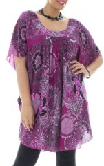 Tunique plus size imprimé féminin et forme poncho Rana 295457