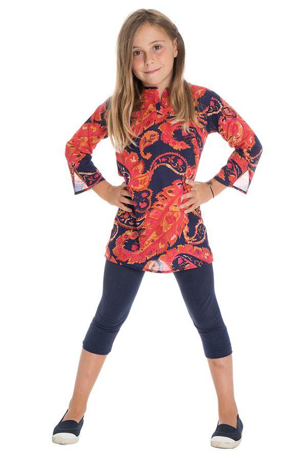 Tunique pour enfant avec un col mao et imprimés fantaisies oranges Jay 295039