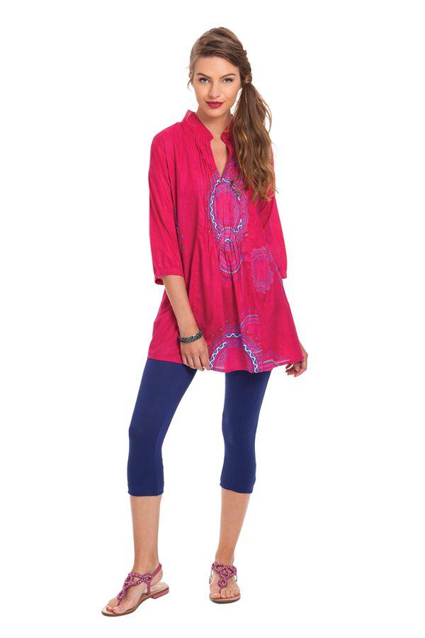 Tunique pour Femme à col Indien Colorée et Originale Gafsa Rose 281825