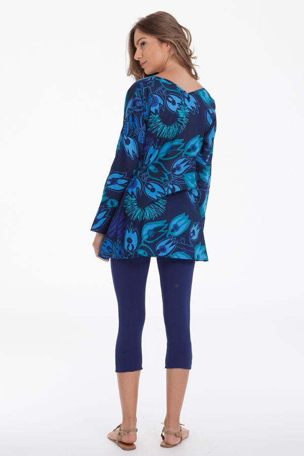 tunique pour femme a manches longues originale coraline bleue. Black Bedroom Furniture Sets. Home Design Ideas