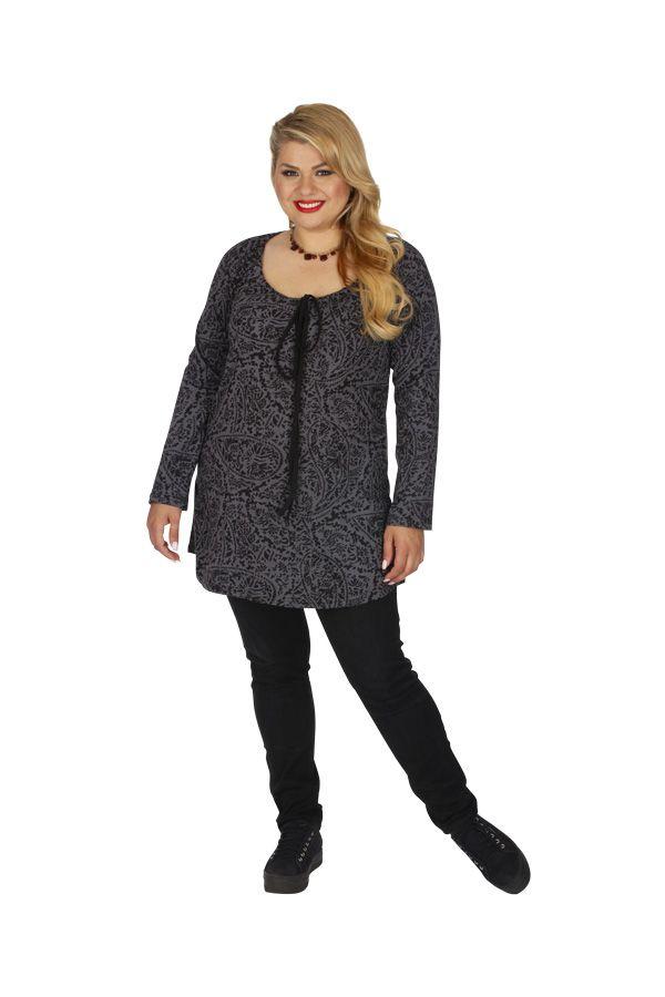 Tunique pour femme en grande taille imprimée Saida grise 313468