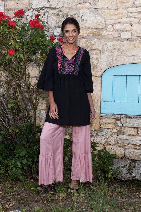 Tunique pour femme noire à manches 3/4 Ethnique et Brodée Kelly 295542