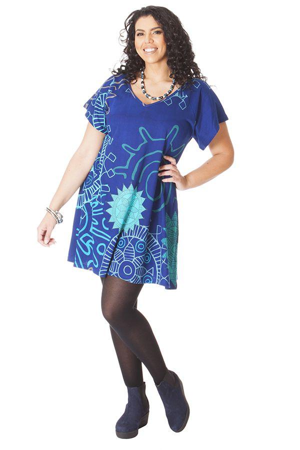 Tunique pour femme pulpeuse ample col en v ad le bleue - Femme pulpeuse image ...