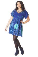 Tunique pour femme pulpeuse Ample à col en V Adèle Bleue Mandalas 286595