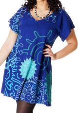 Tunique pour femme pulpeuse Ample à col en V Adèle Bleue Mandalas 286715