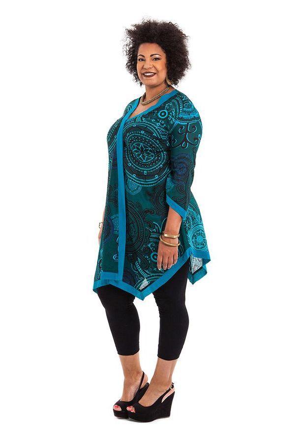 Tunique pour femme pulpeuse asym trique et color e louise bleue - Femme pulpeuse image ...