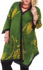 Tunique pour femme pulpeuse Asymétrique et colorée Louise Verte 284607