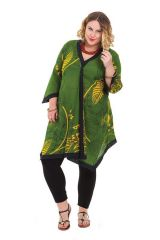 Tunique pour femme pulpeuse Asymétrique et colorée Louise Verte 284608
