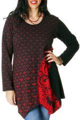 Tunique pour femme pulpeuse Ethnique et Asymétrique Makena Rouge 286916