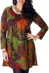 Tunique pour femme pulpeuse Originale et Ethnique Yetty Verte 286726