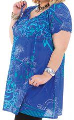 Tunique pour Femme Ronde Bleue Imprimée et Fantaisie Manon 311244