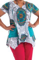 Tunique pour femme ronde Ethnique à Col Tunisien Bridget Blanche Mandalas 284034