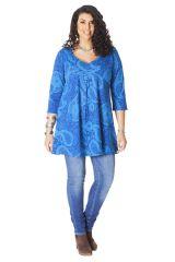 Tunique pour femme ronde Ethnique Col en V Gaby Bleue 286505