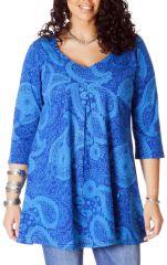 Tunique pour femme ronde Ethnique Col en V Gaby Bleue 286736