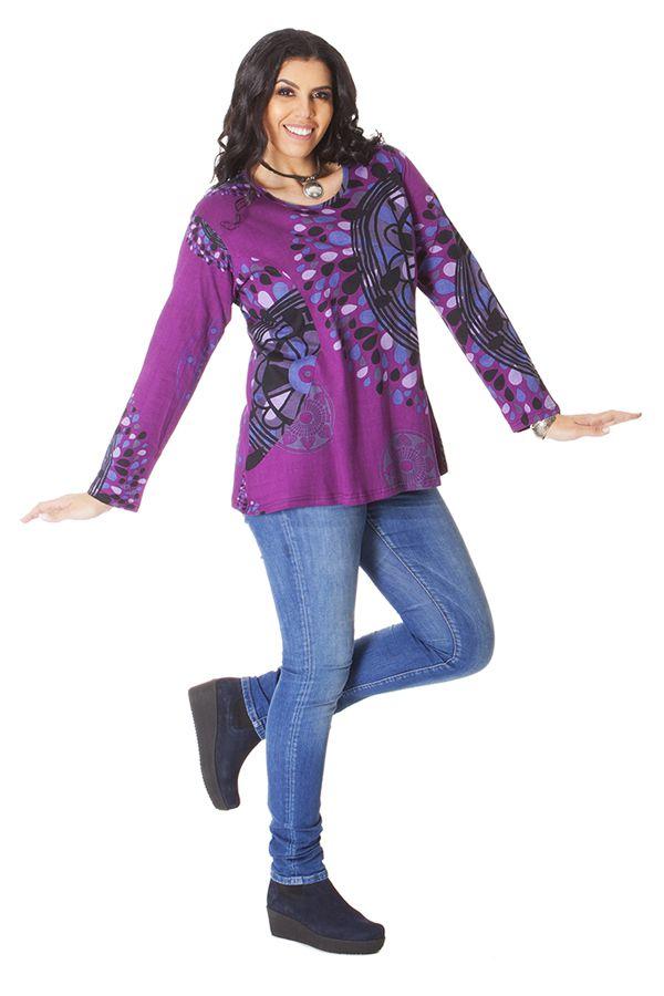 Tunique pour Femme Ronde Ethnique et Imprimée Baila Violette 286414