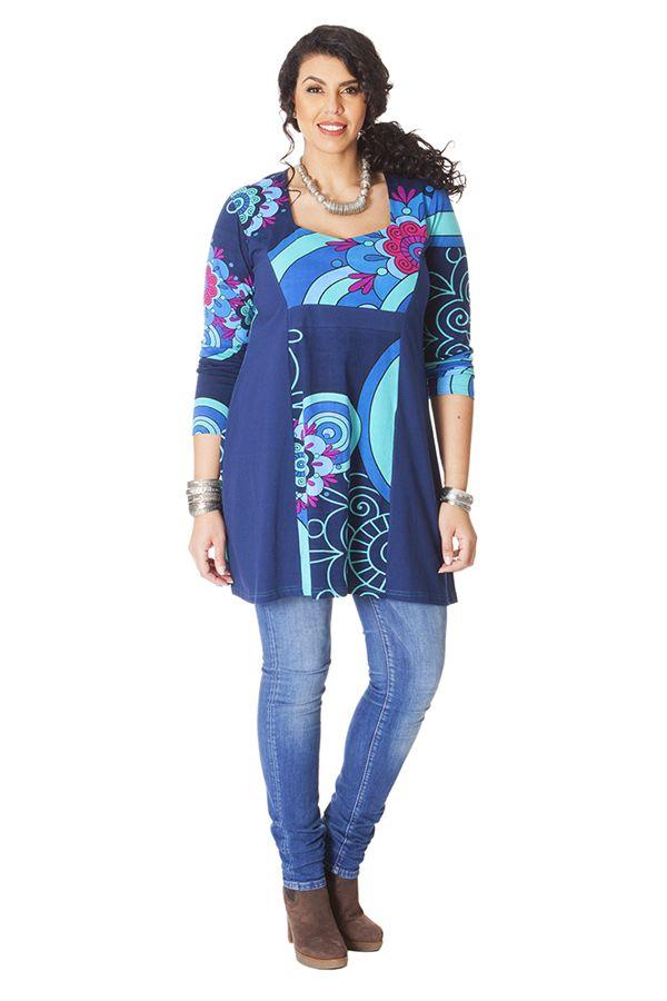 Tunique pour femme ronde Ethnique et Originale Laure Bleue 286185
