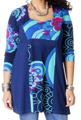 Tunique pour femme ronde Ethnique et Originale Laure Bleue 286698