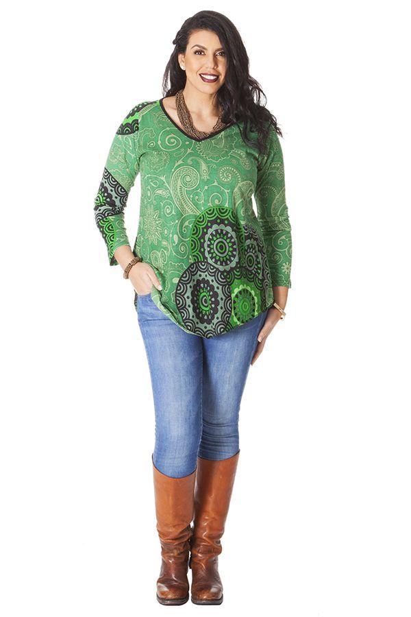 Tunique pour femme ronde Ethnique Verte à Col en V Gaby 286511