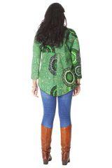 Tunique pour femme ronde Ethnique Verte à Col en V Gaby 286512