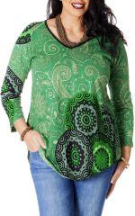 Tunique pour femme ronde Ethnique Verte à Col en V Gaby 286781