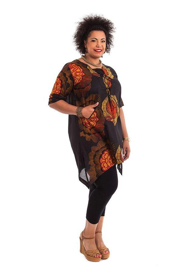 Tunique pour Femme Ronde Originale et Asymétrique Samsara Noire 284533