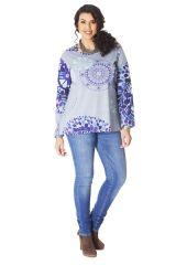 Tunique pour femme ronde Originale et Colorée  Baila Bleue 286422
