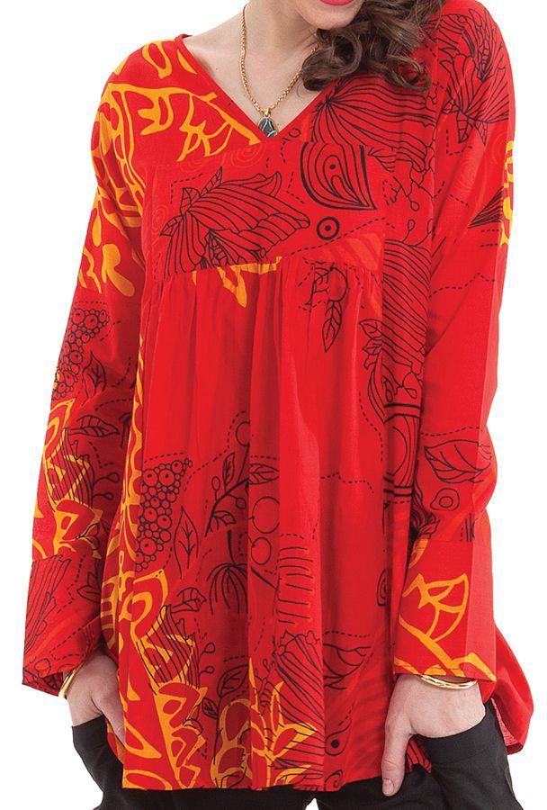 tunique pour femme rouge a manches longues originale coraline. Black Bedroom Furniture Sets. Home Design Ideas