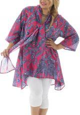 Tunique pour femmes rondes avec col effet étole colorée Jazy 292438