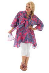 Tunique pour femmes rondes avec col effet étole colorée Jazy 292476