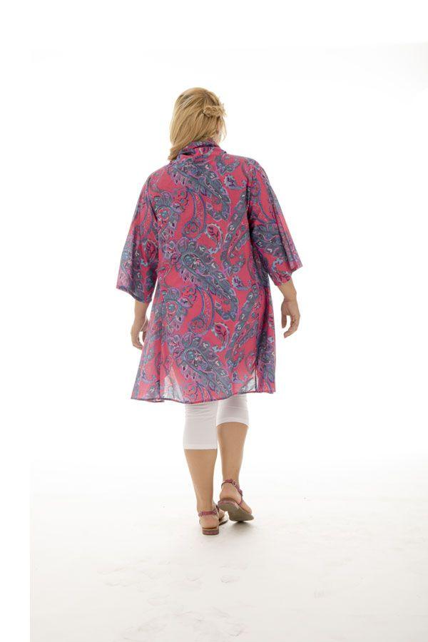Tunique pour femmes rondes avec col effet étole colorée Jazy 292477