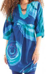 Tunique ravissante pour femme avec un col style oriental bleue Ikasta 281799