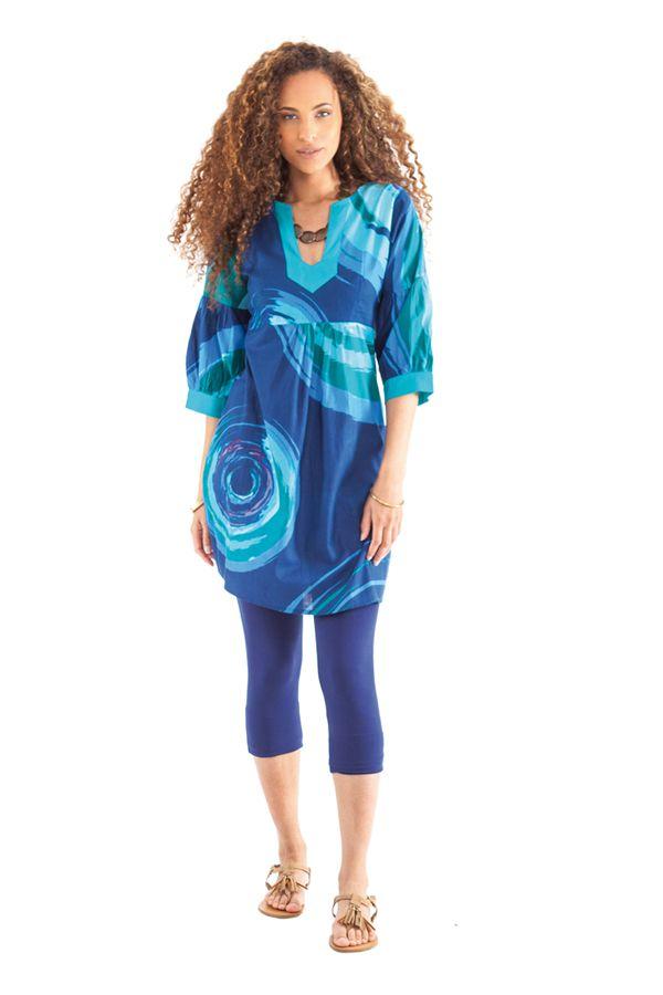 Tunique ravissante pour femme avec un col style oriental bleue Ikasta 281800