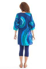 Tunique ravissante pour femme avec un col style oriental bleue Ikasta 281801