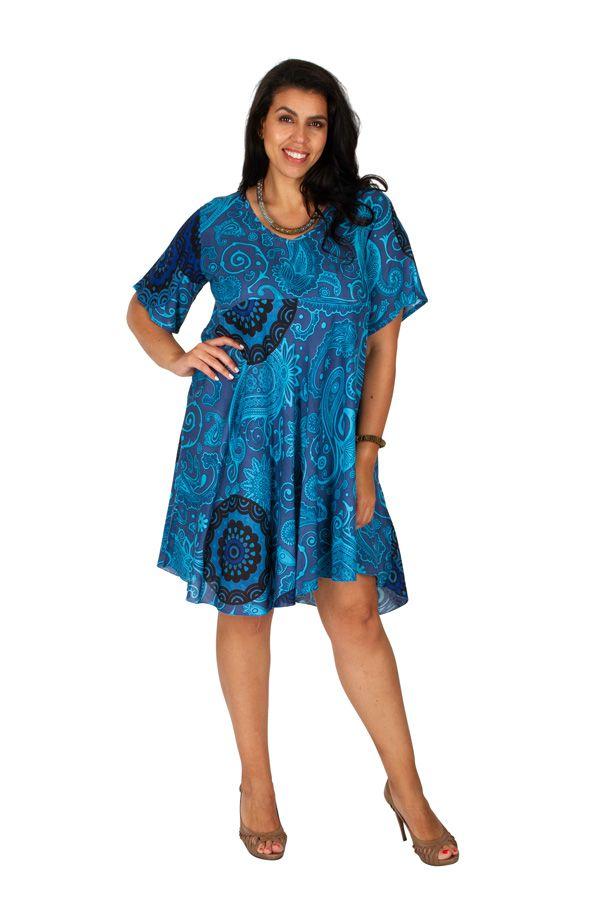 Tunique/robe courte imprimée bleue grande taille Liloue