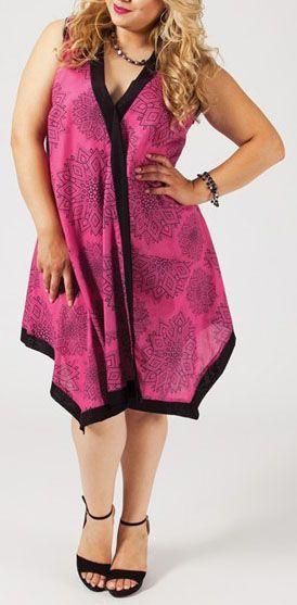 Tunique rose col en V grande taille Emane 269595