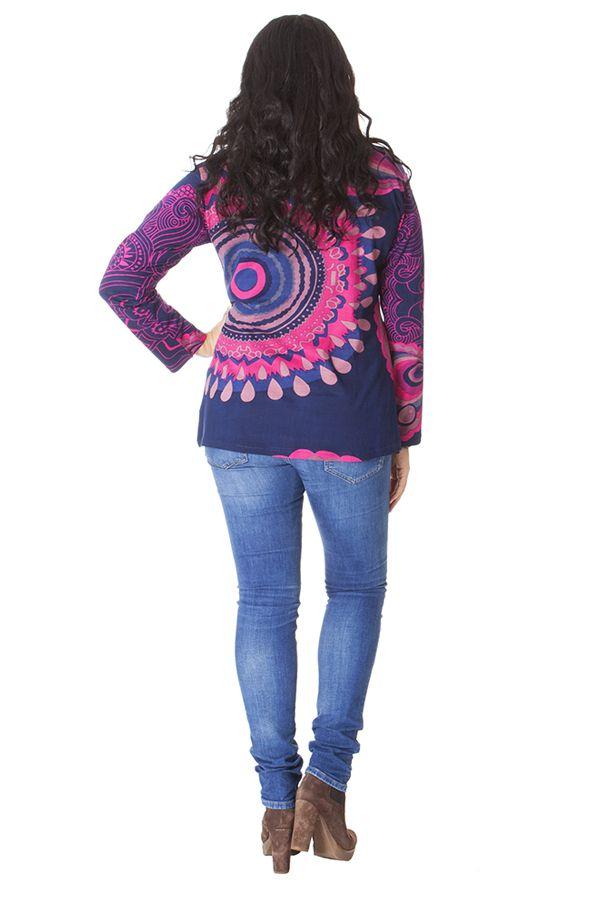 Tunique Rose et Bleue Ethnique et Colorée  Baila en Grande taille 286421