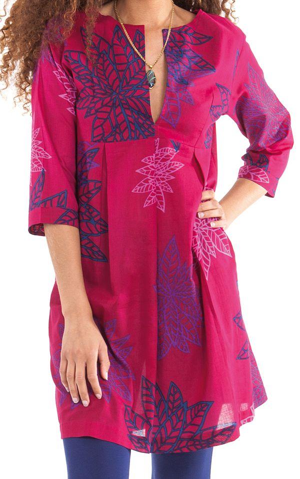 Tunique Rose pour femme à col Tunisien Colorée et Ethnique Anita 281904.  Loading zoom