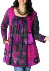 Tunique Rose pour femme pulpeuse Originale et Ethnique Elodie 286780