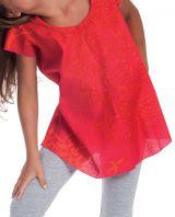 Tunique Rouge à col rond pour Fille Imprimée Orange Guimauve 280564