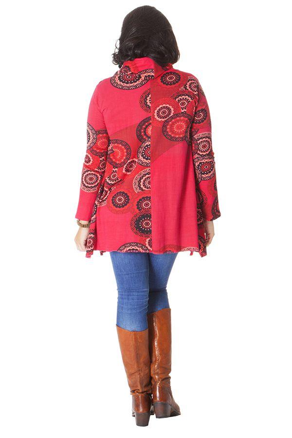 Tunique Rouge effet col roulé Grande taille Ethnique et Colorée Prisma 286495
