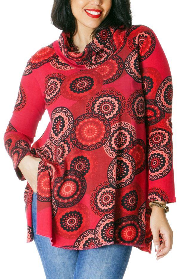 Tunique Rouge effet col roulé Grande taille Ethnique et Colorée Prisma 286739