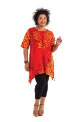 Tunique Rouge Originale et Asymétrique pour Femme Ronde Samsara 284545