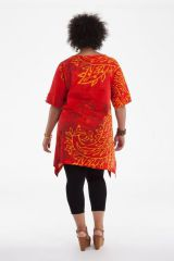 Tunique Rouge Originale et Asymétrique pour Femme Ronde Samsara 284546