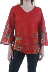 Tunique rouge pour femme agréable et ethnique Héloise 311059