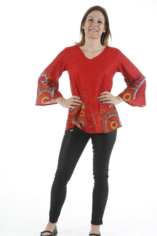 Tunique rouge pour femme agréable et ethnique Héloise 311060