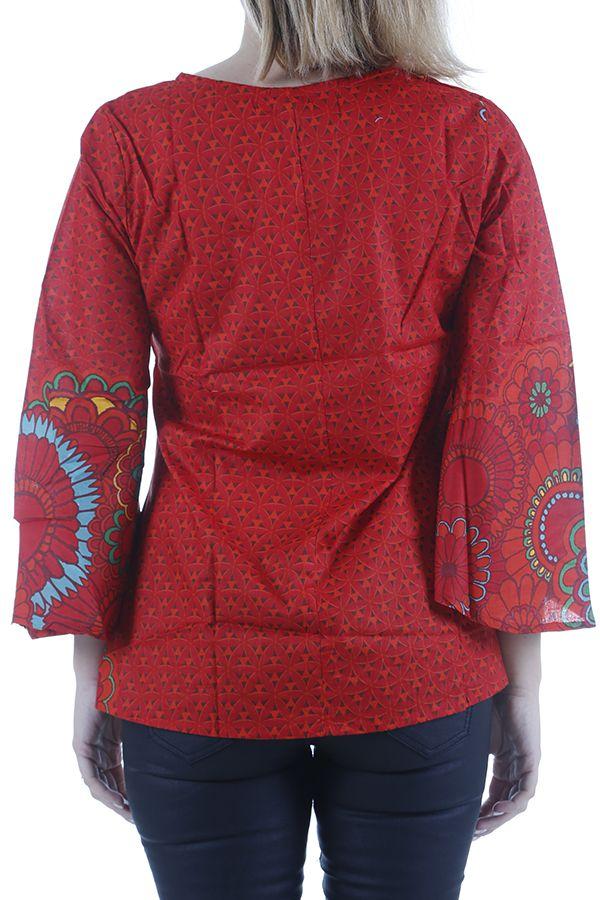 Tunique rouge pour femme agréable et ethnique Héloise 311061