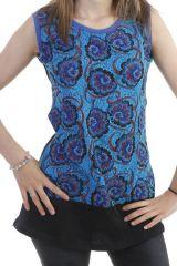 Tunique sans manches à imprimé fantaisie bleu Grelot 297010
