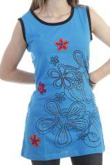 Tunique sans manches à imprimé floral brodé bleue Lovely 296957