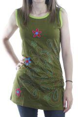 Tunique sans manches à imprimé original floral brodé verte Lovely 296915