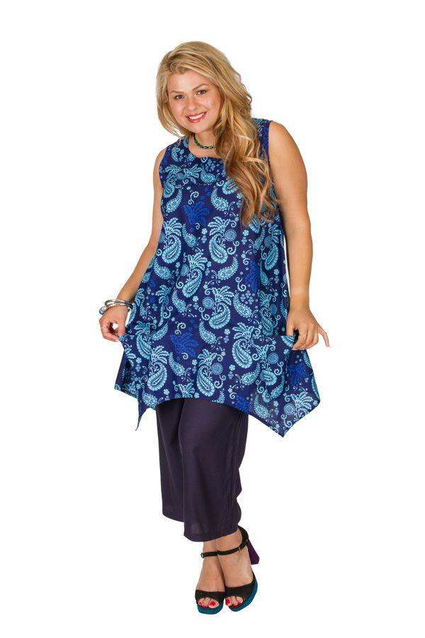 Tunique sans manches grande taille bleue imprimée Cassandre 309816